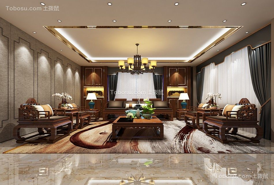 358平中式古典风格别墅装修效果图