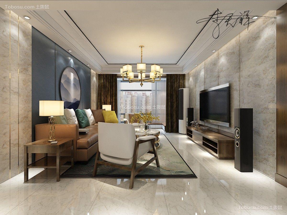 棕榈湾137平新中式风格三居室装修效果图