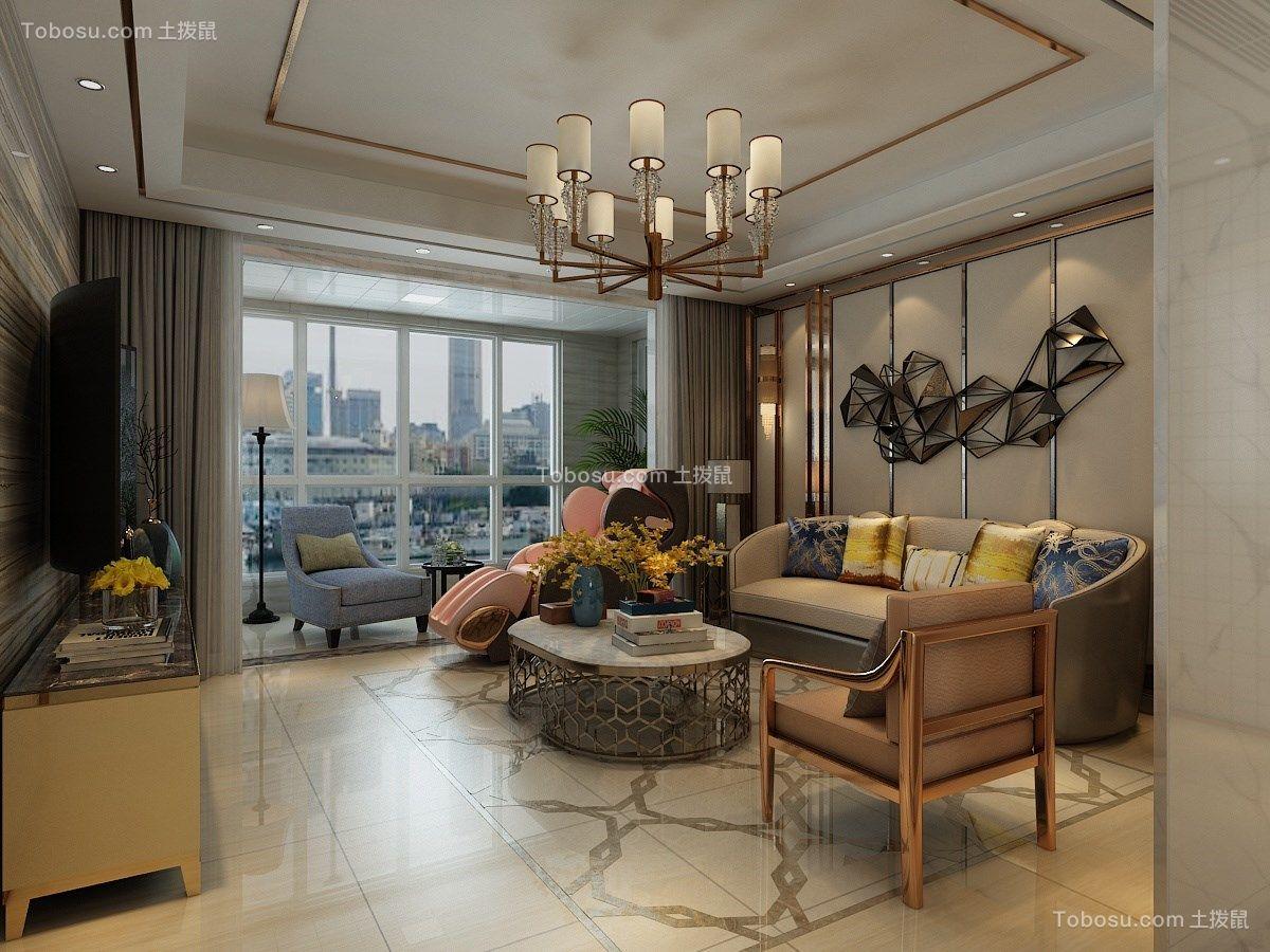 明清家具暖色三房两厅装修效果图