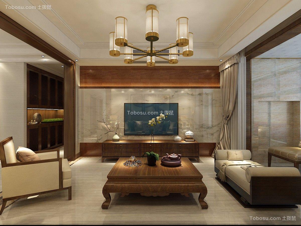 客厅 电视背景墙_135平三室两厅两卫新中式风格