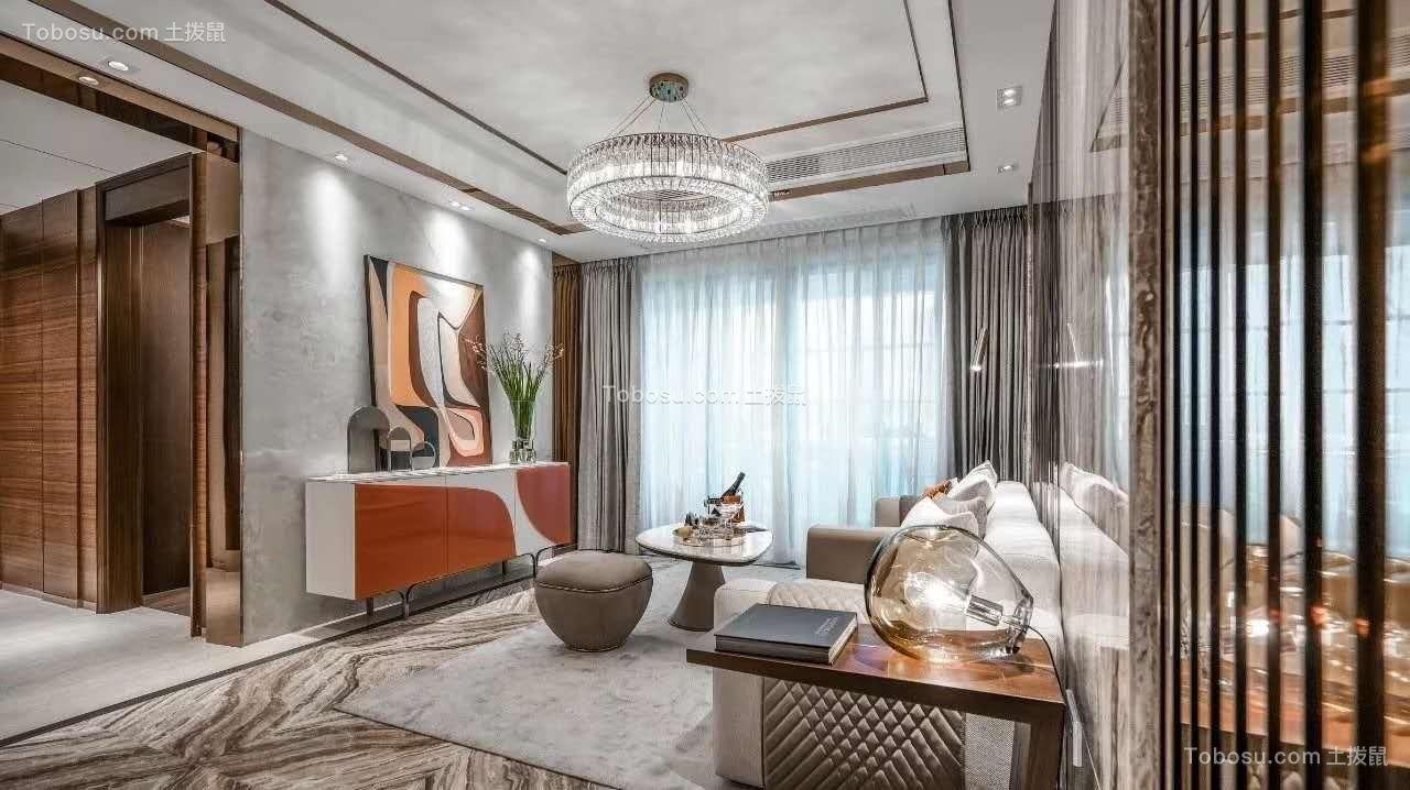 现代简约黑白灰120平三室两厅装修设计
