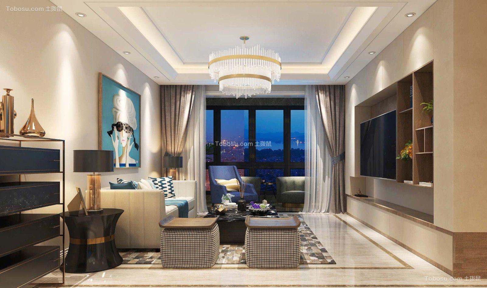 128平米时尚简约3室2厅装修效果图
