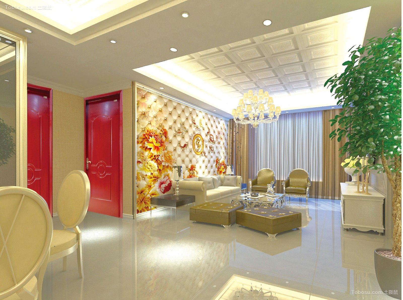 三室一厅两卫90平户型效果图