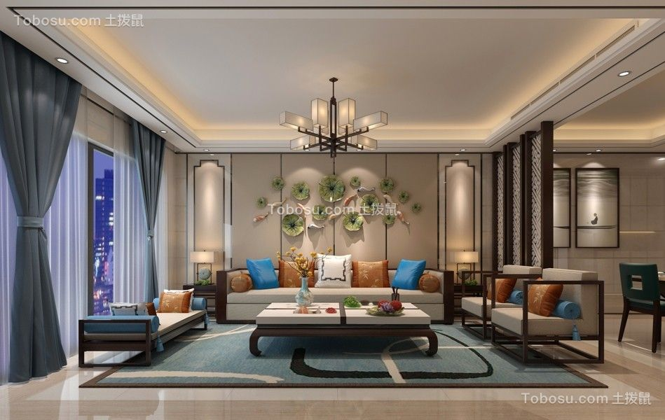 新中式139平四居室装修效果图