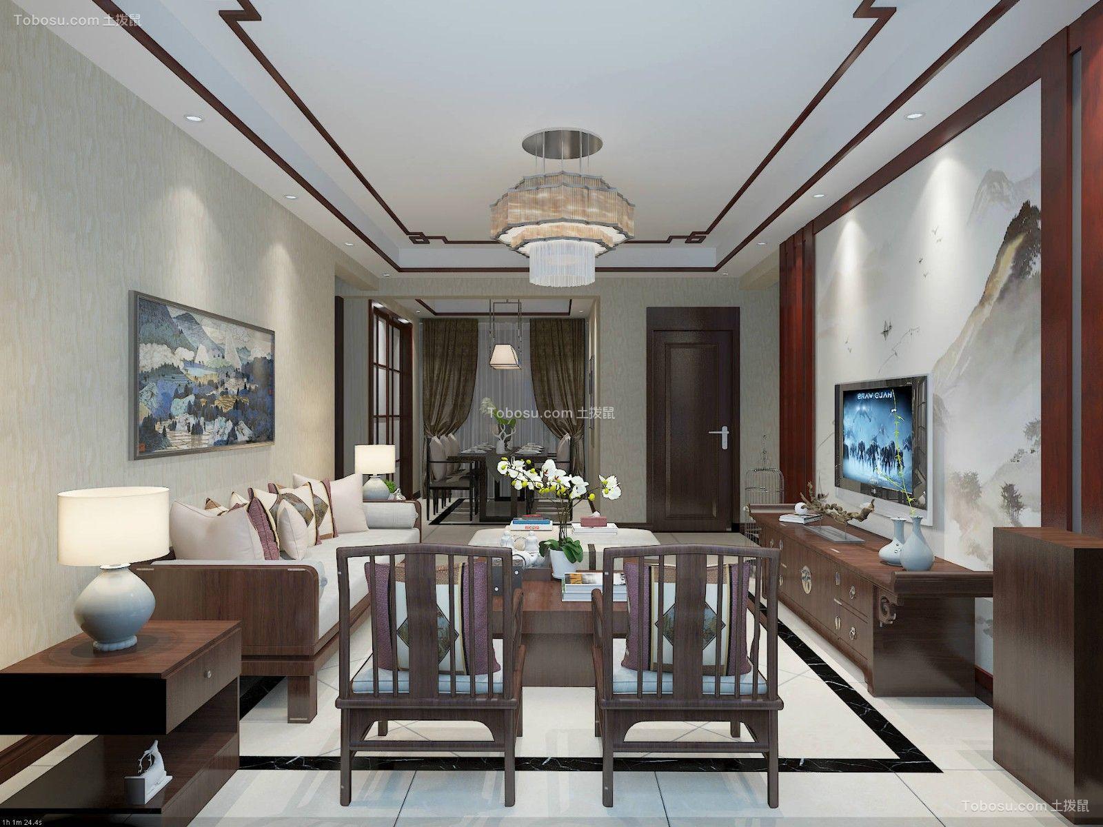 新中式二居室90平装修效果图