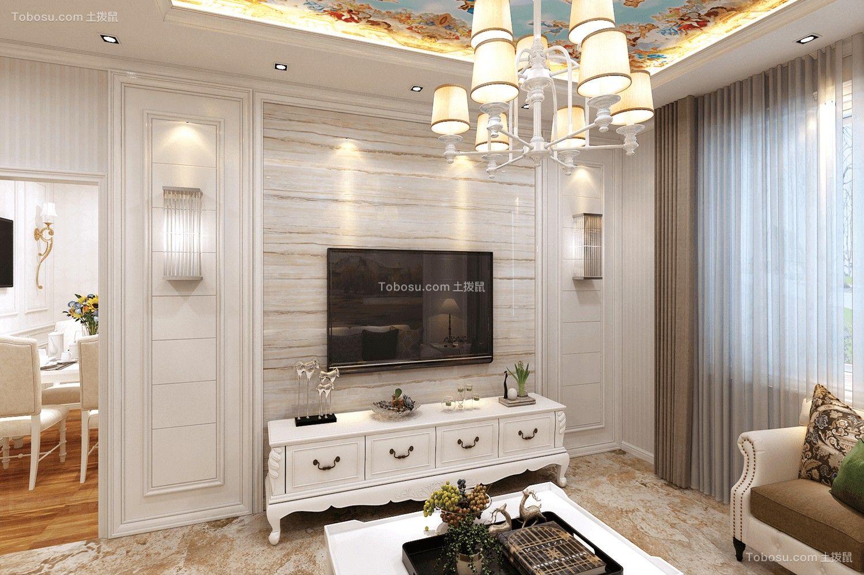 客厅 电视背景墙_三室一厅一卫100平简欧装修效果图