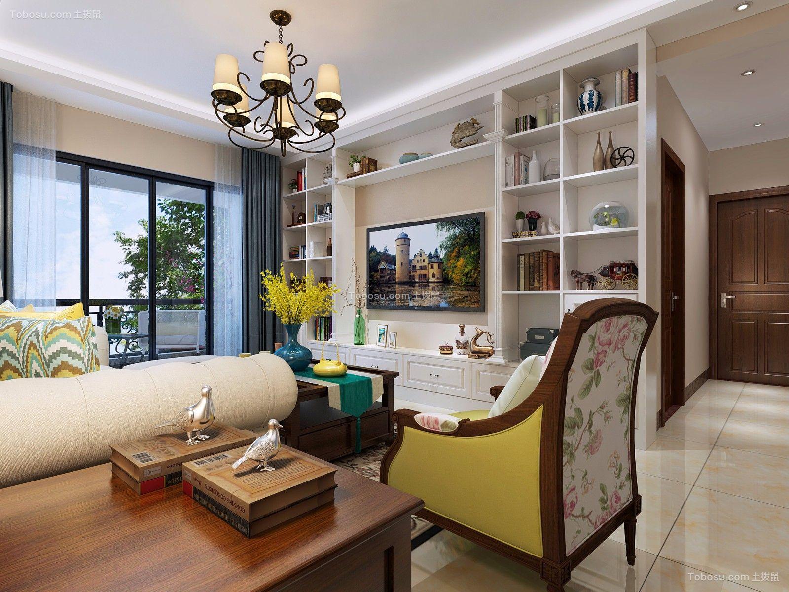 89平米美式风格三居室家装效果图