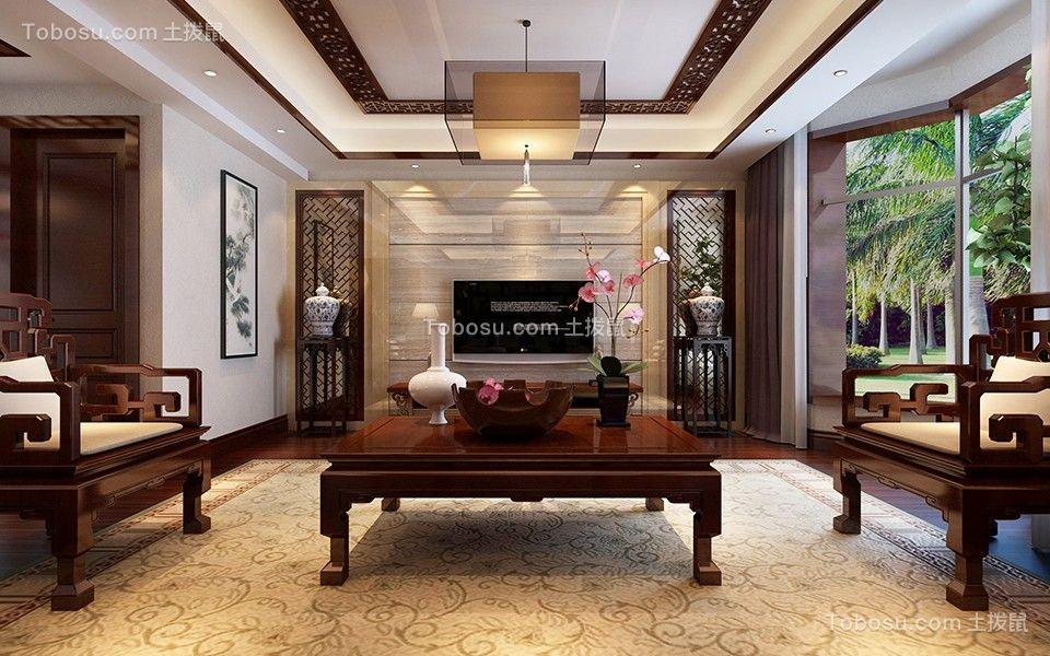 230平米新中式三室红木色设计装修效果图