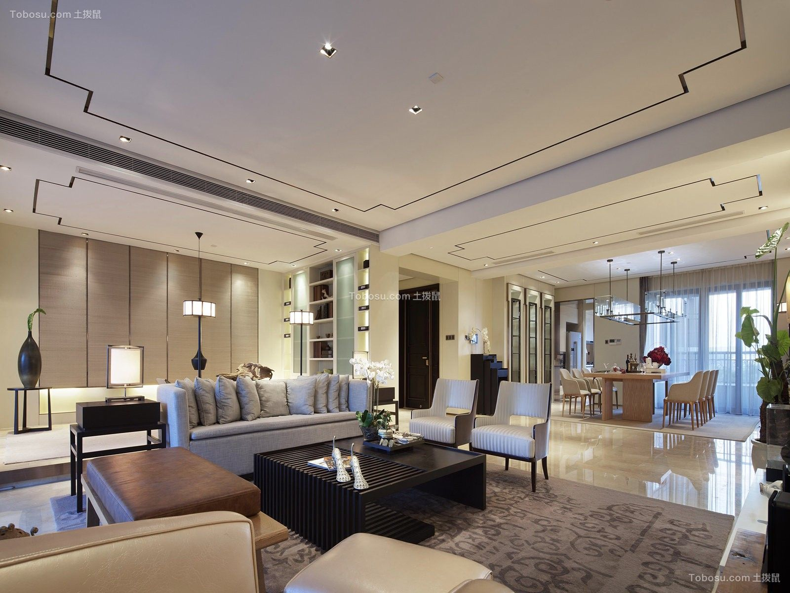 千灯湖4室2厅2卫新中式风格装修案例