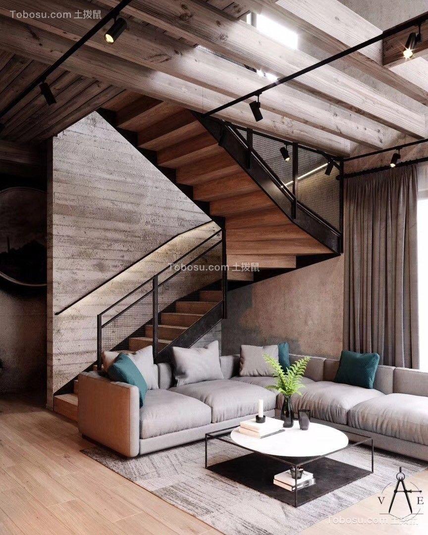 2019工业客厅装修设计 2019工业楼梯装修效果图片