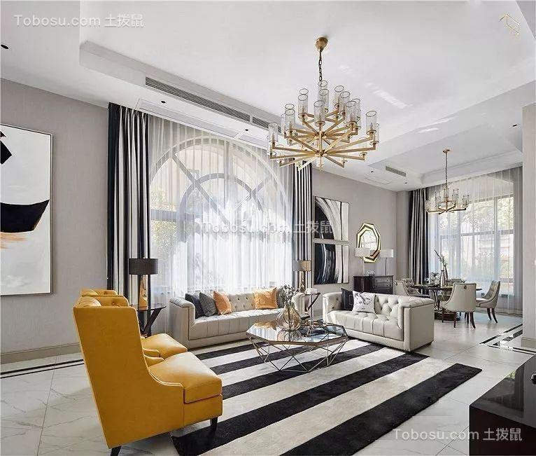 美式轻奢风格162平三居室效果图