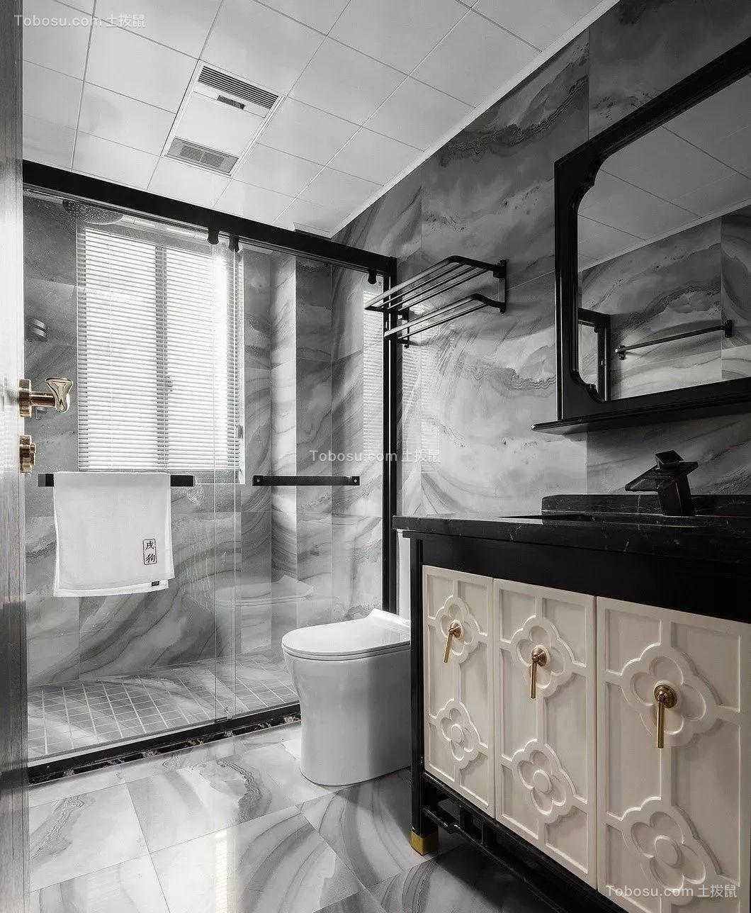 2019新中式卫生间装修图片 2019新中式淋浴房装修设计图片