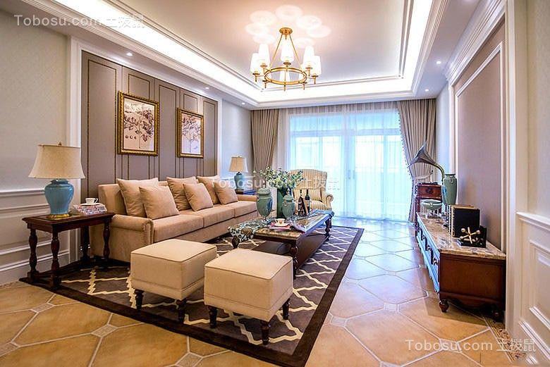 125平美式3室2厅2卫套房效果图案例