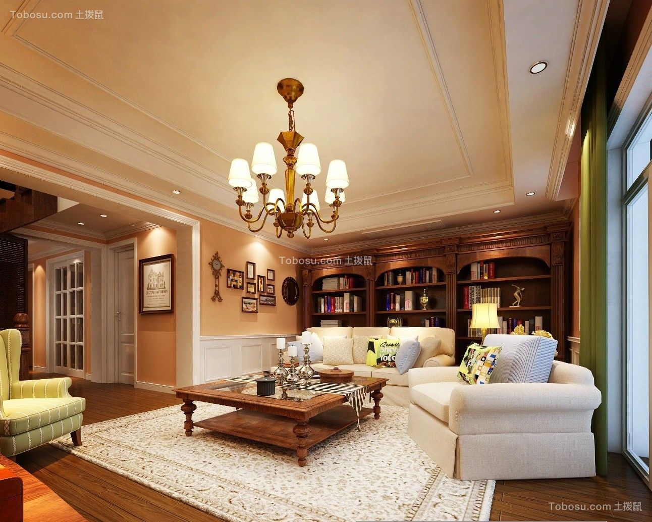 现代简约95平2室1厅小户型效果图