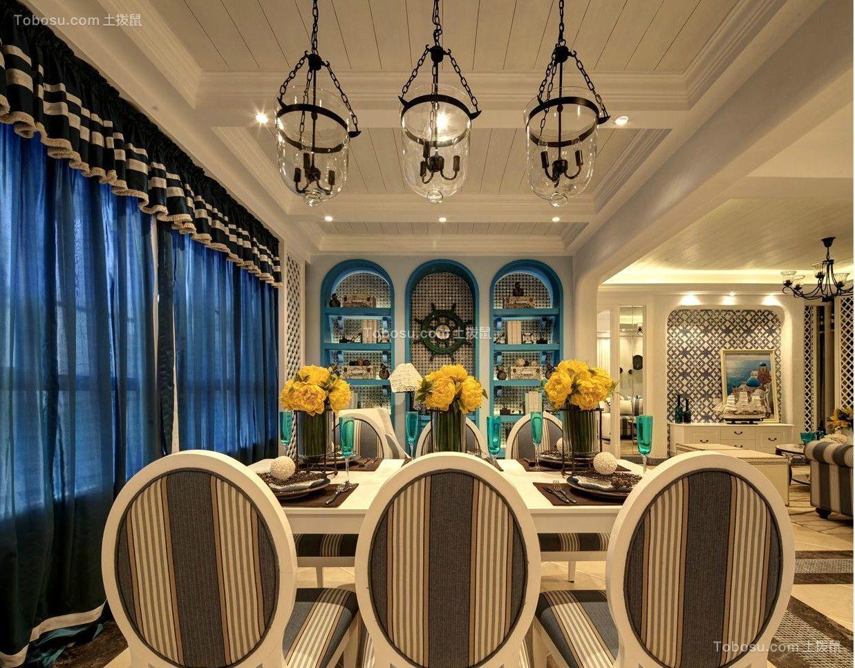 餐厅 吊顶_135平田园风格套房效果图案例