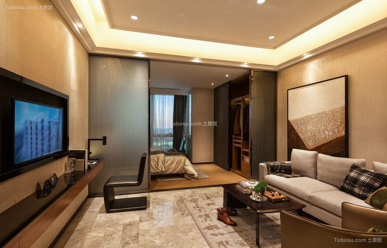 75平现代简欧风2室1厅小户型效果图案例