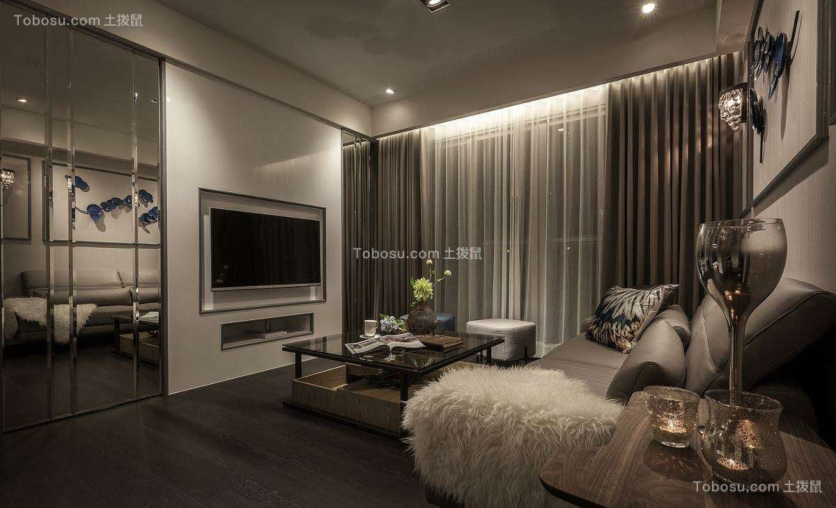 85平现代简约风2室1厅效果图案例