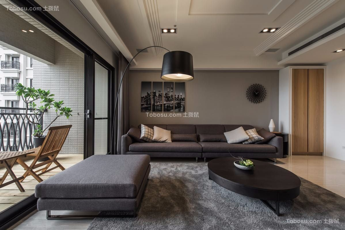 原木色现代风格150平三居室效果图