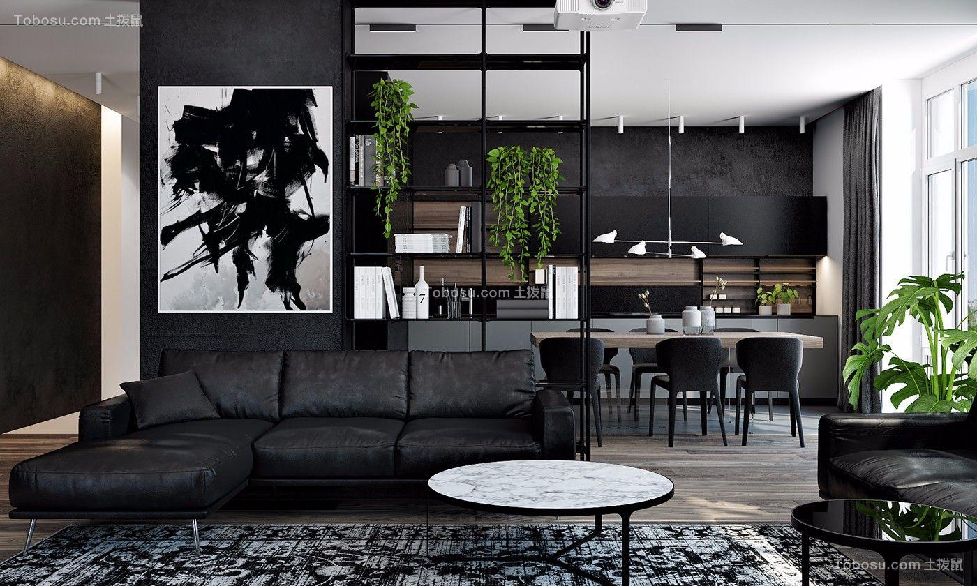 现代黑色风格三居室136平效果图