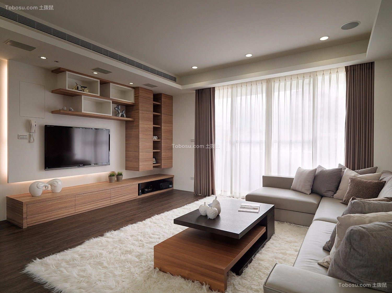 台式原木现代风格三居室158平效果图