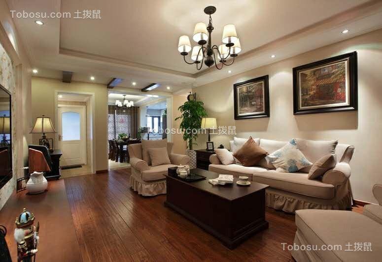 110平3室2厅1卫美式风实景图