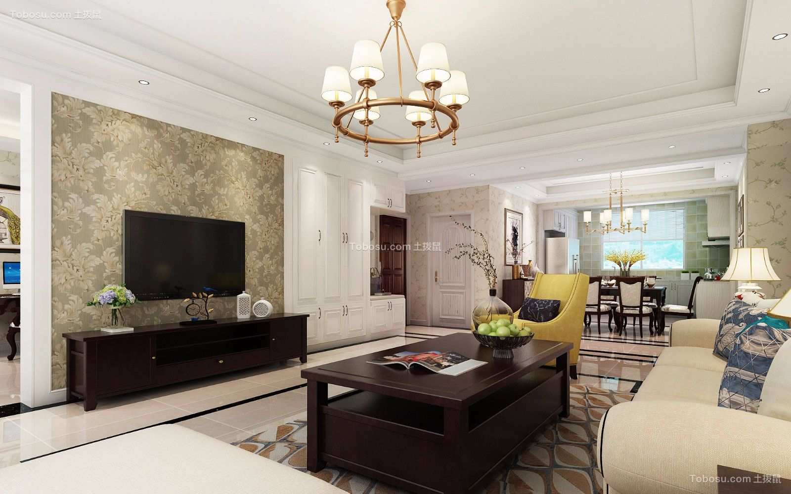 百合田园169平米美式风格四居室装修效果图