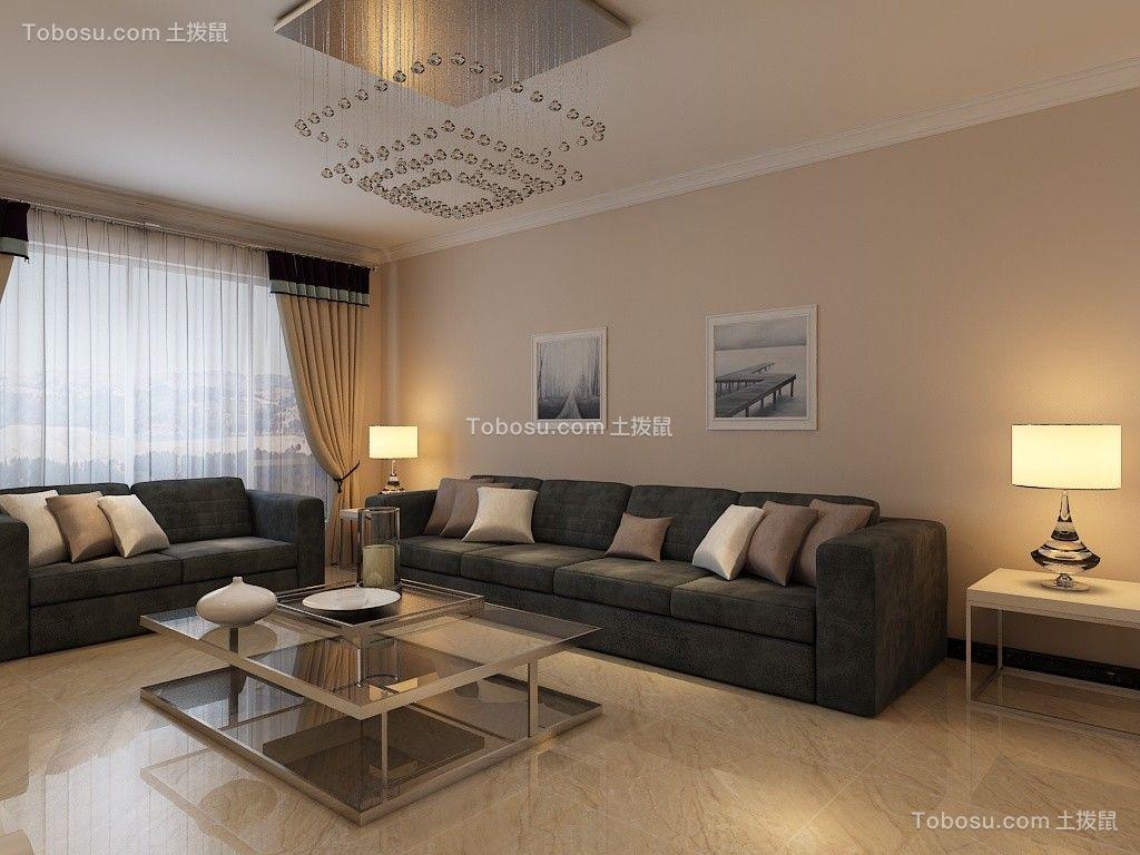 现代简约风格106平三居室装修效果图