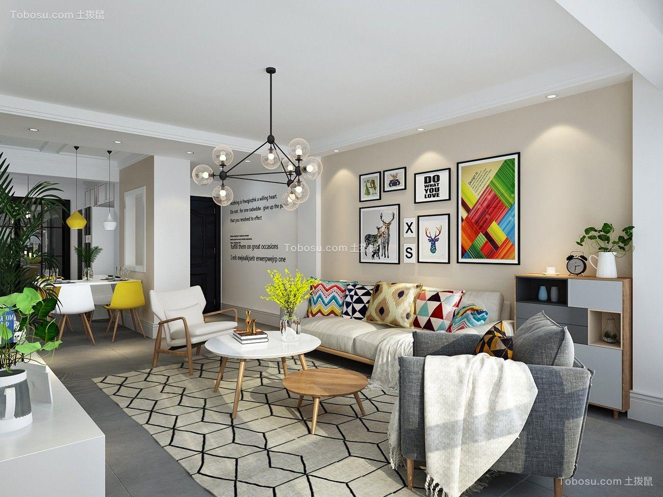 115平米北欧风格三居室装修效果图