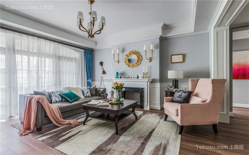 保利西山林语美式风格162平四居室装修效果图