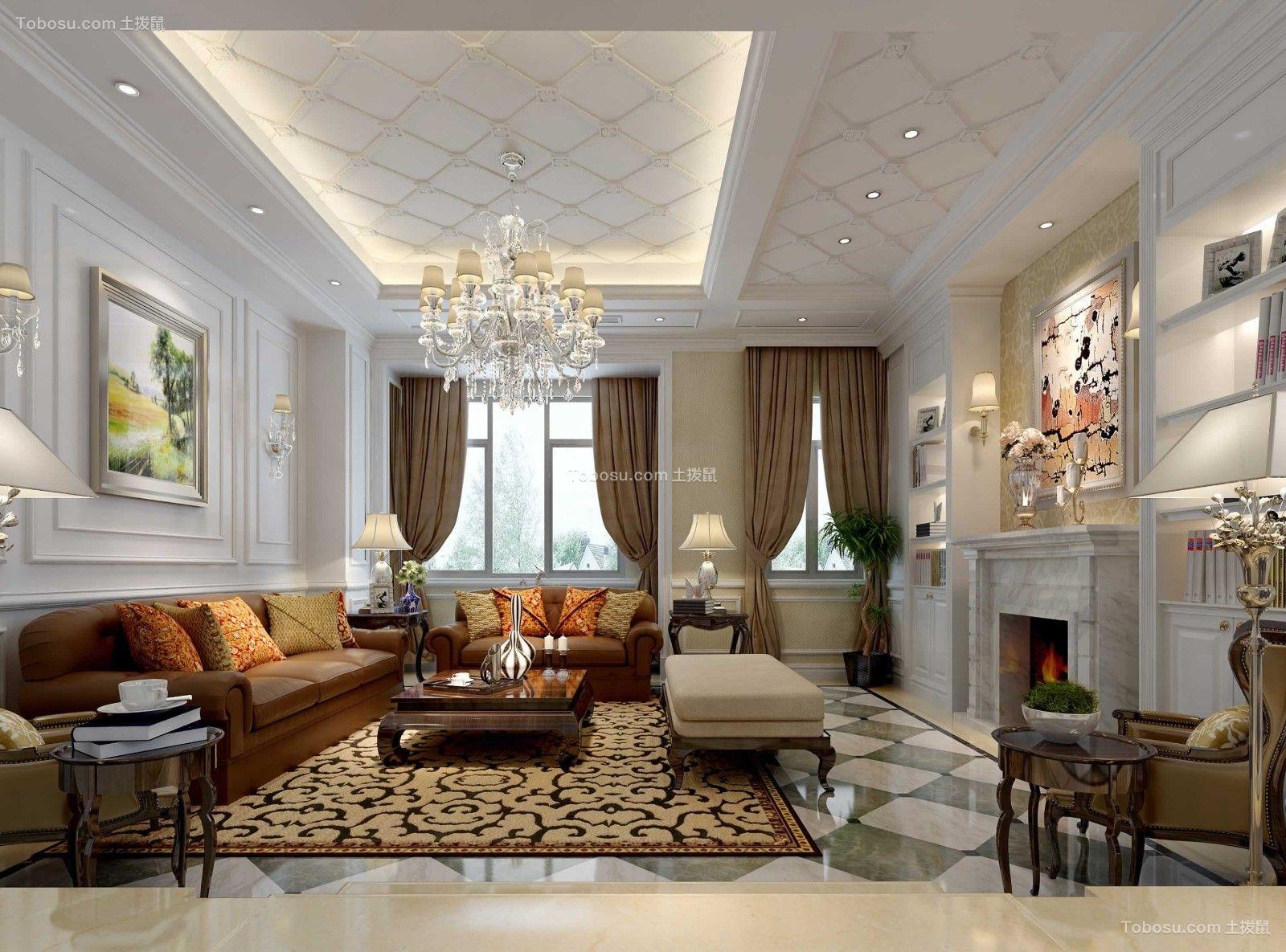 110平米三室红木色美式风情装修效果图