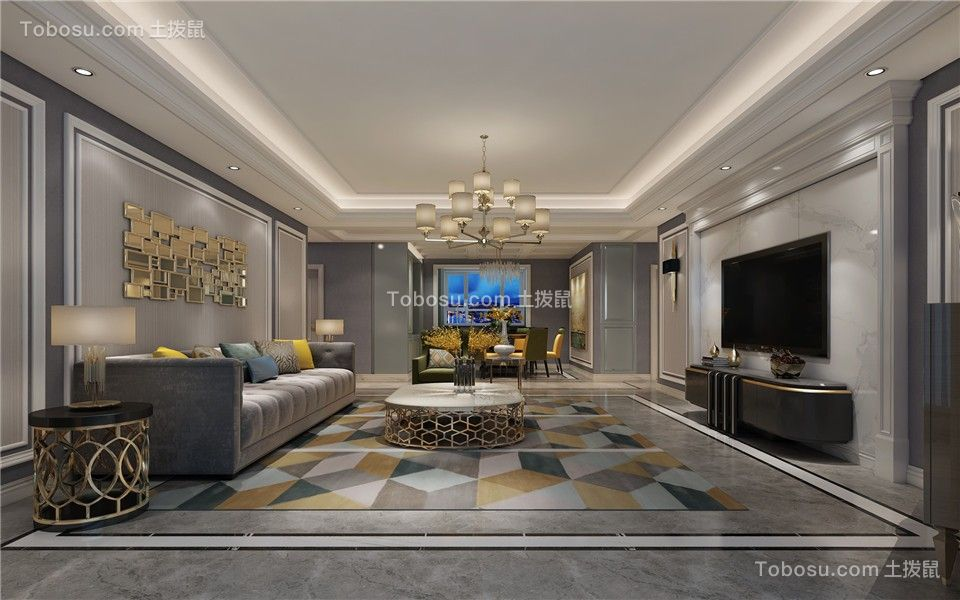180平四居欧式风格客厅装修效果图