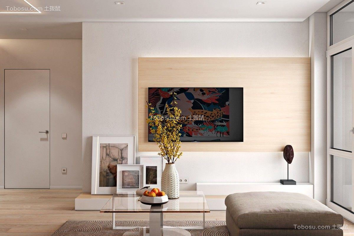 客厅 电视背景墙_春天主题田园68平小户型客厅装修效果图