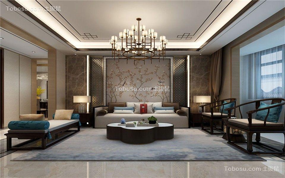 130平三居室中式风格客厅装修效果图