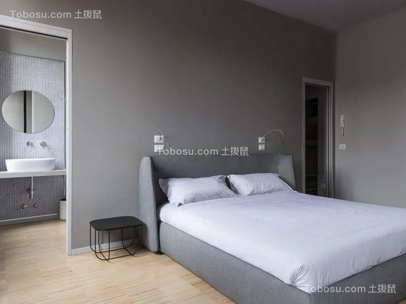 蓝色混凝土小户型设计68平现代卧室效果图