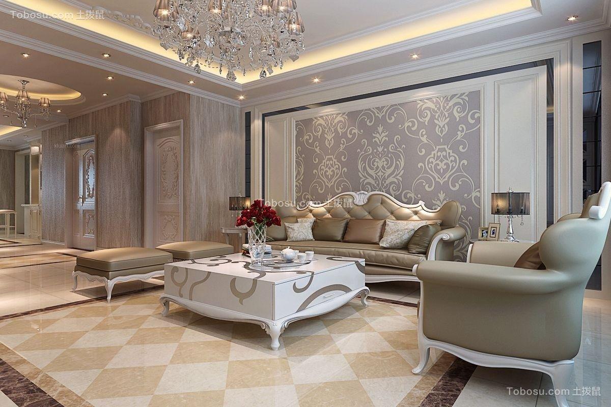120平米三室暖色欧式风情装修效果图