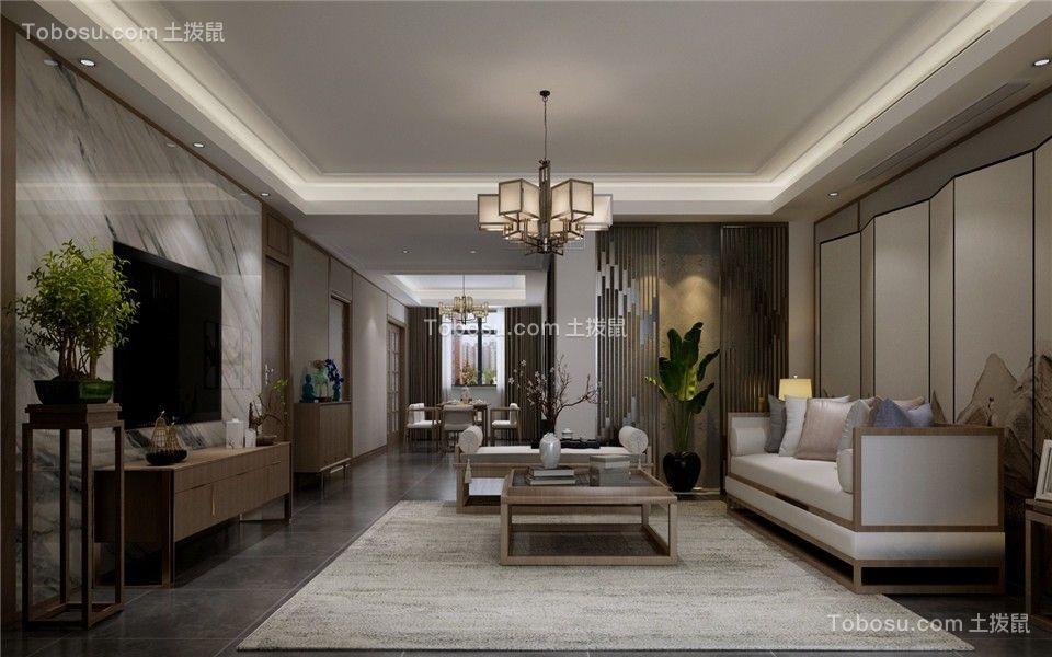 165平米三室黑白灰中式装修效果图