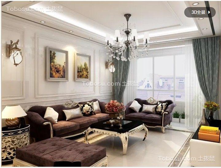 歐式風格小戶型86平客廳裝修效果圖