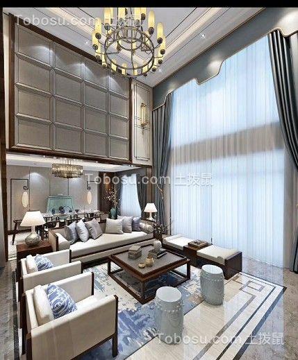 冷色系套房设计现代中式装修效果图