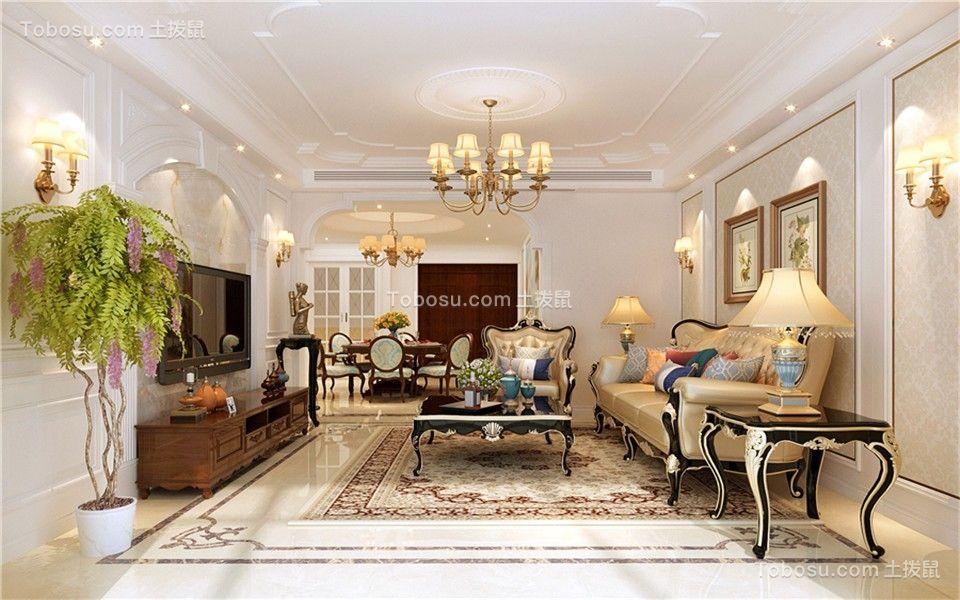 210平三居室欧式风格客厅装修效果图