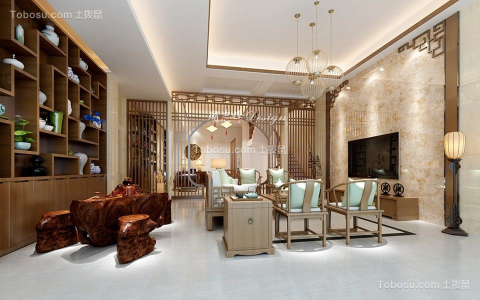 2019新中式客厅装修设计 2019新中式博古架装修图片