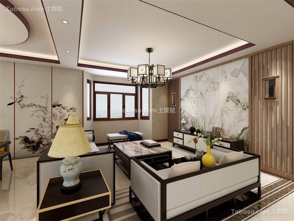 山水龙城蝶苑117平米三居室中式风格客厅装修图