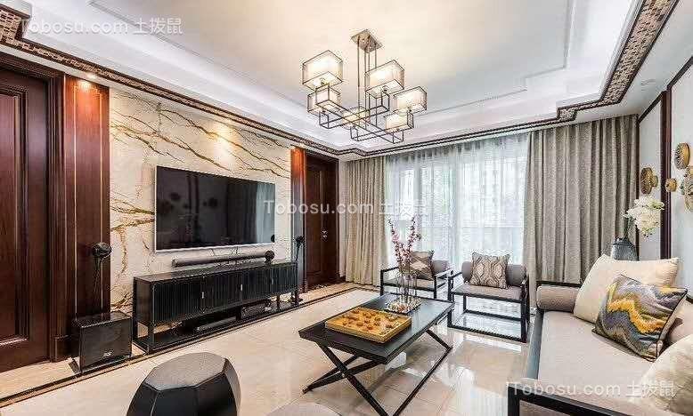 108平米儒雅新中式风格家居装修设计,端庄大气的同时让人觉得韵味十足! 