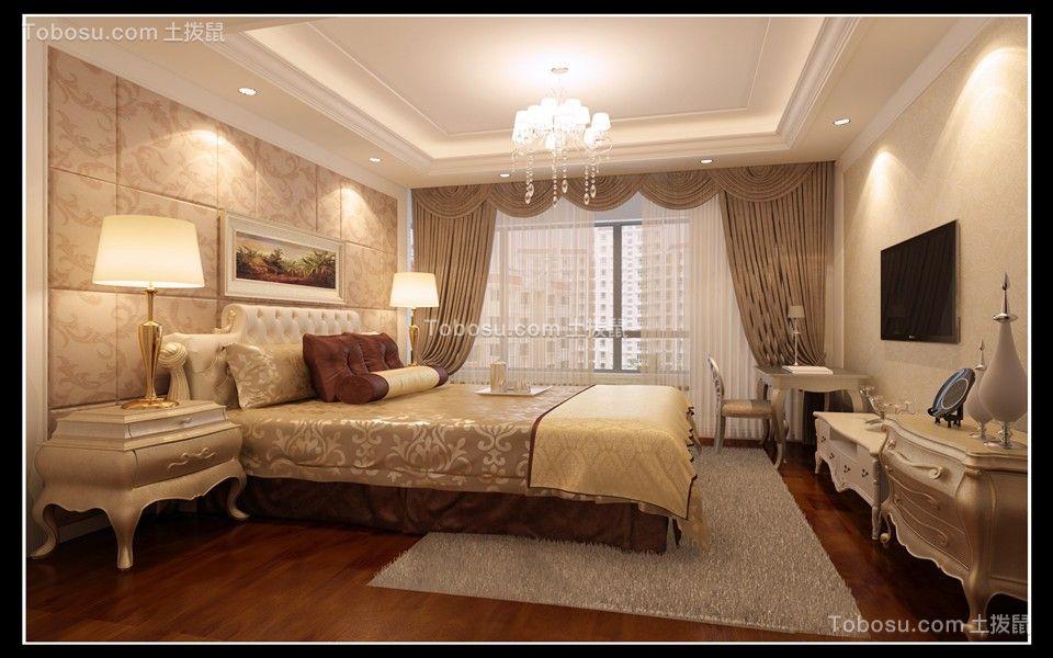 五缘尊府简欧风格129平套房卧室效果图