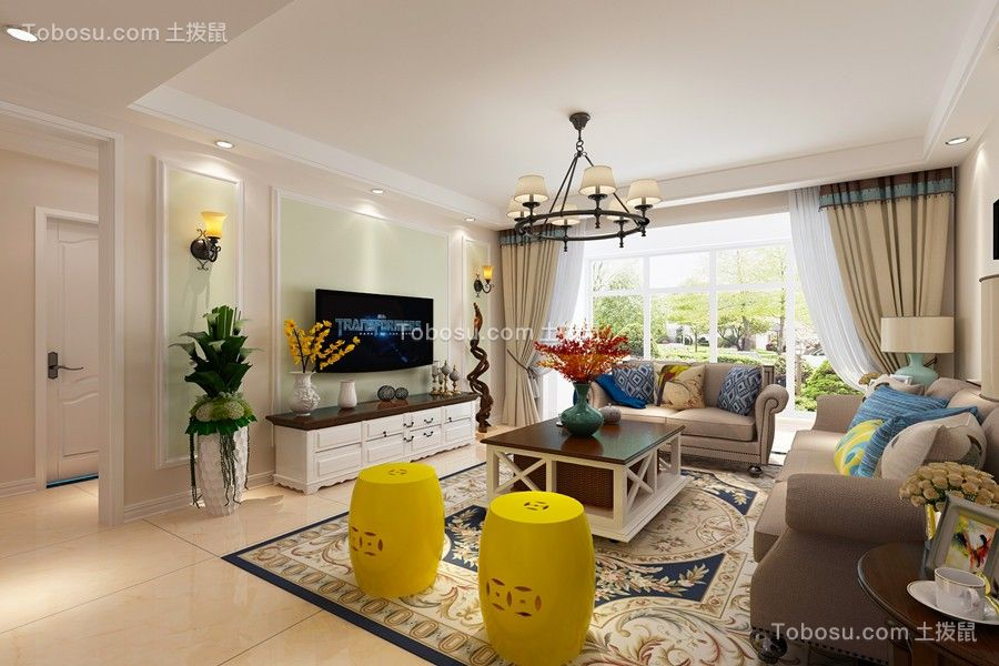 蓝泰海乐府110平美式风格小户型客厅效果图