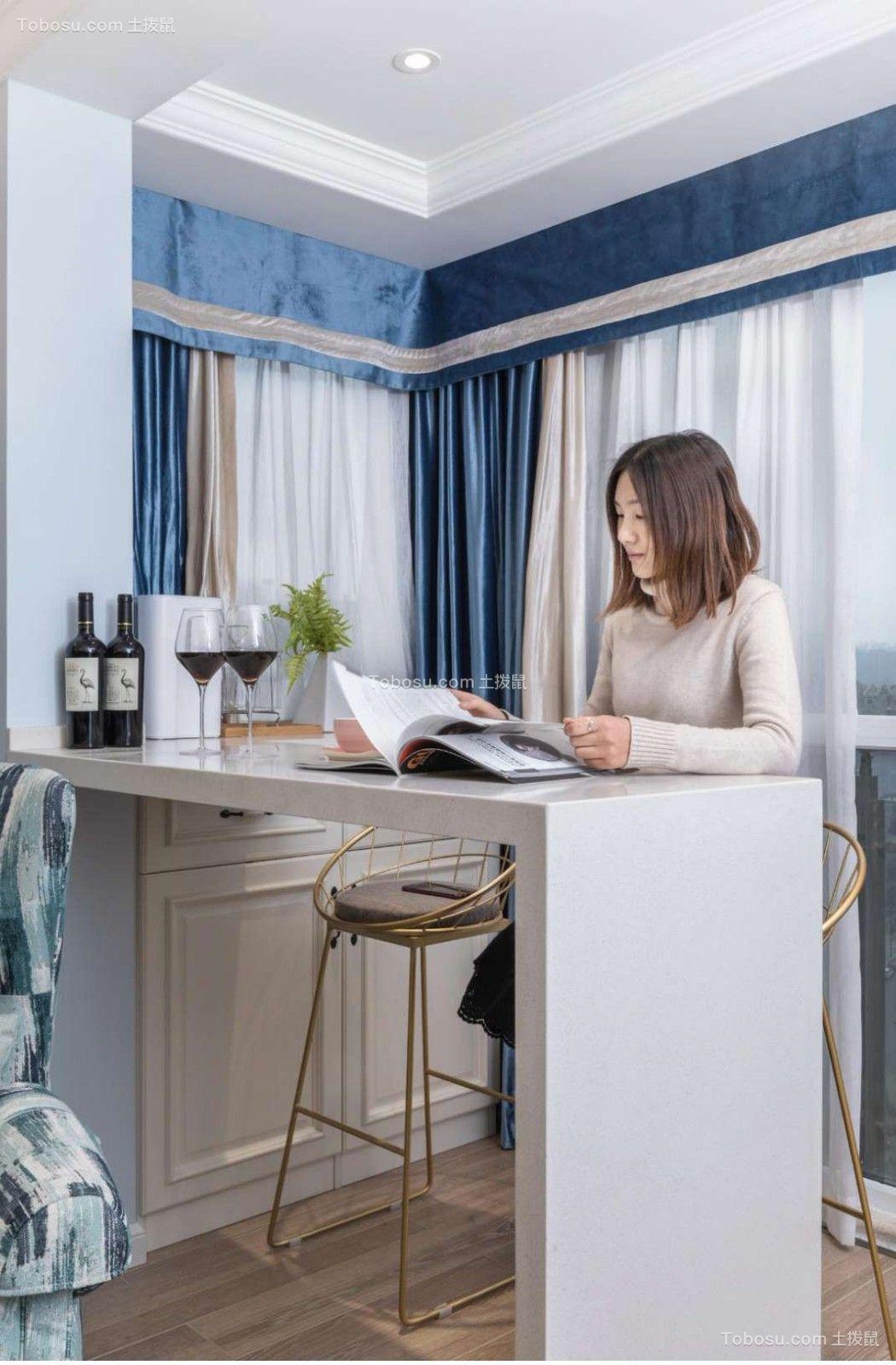 书房 书桌_浅蓝色三室美式装修案例效果图