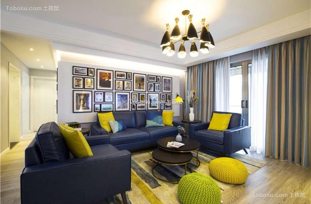 黄色四室北欧装修效果图