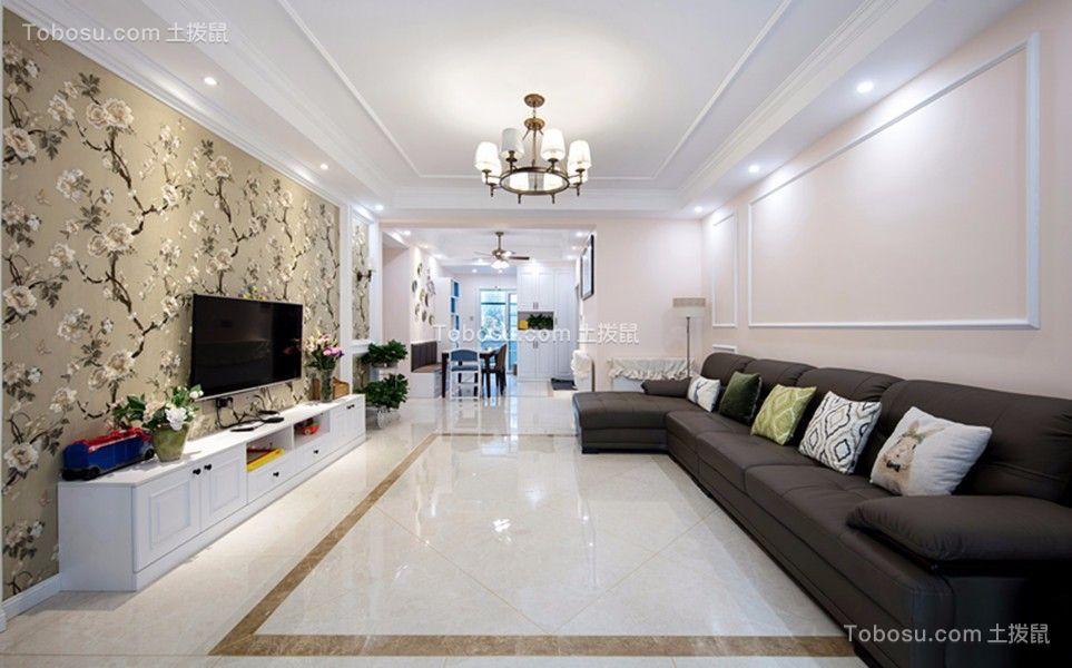 110平简欧风格三房客厅装修效果图