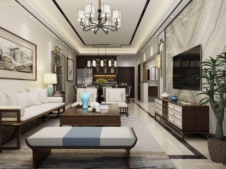95平二房新中式风格客厅效果图