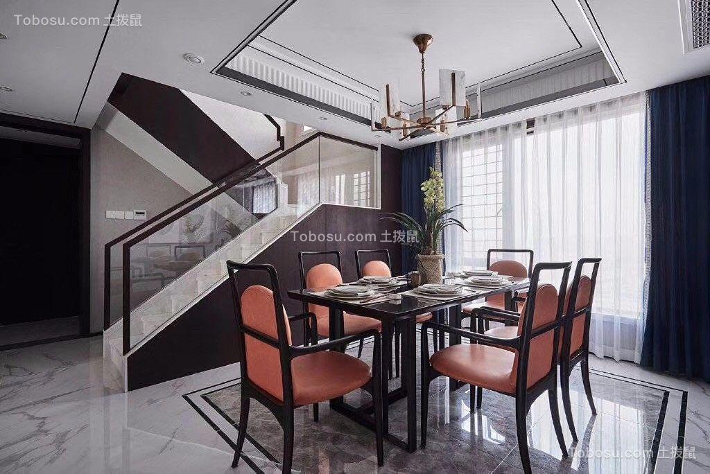餐厅 吊顶_126平新中式风格冷色调复式客厅图片欣赏
