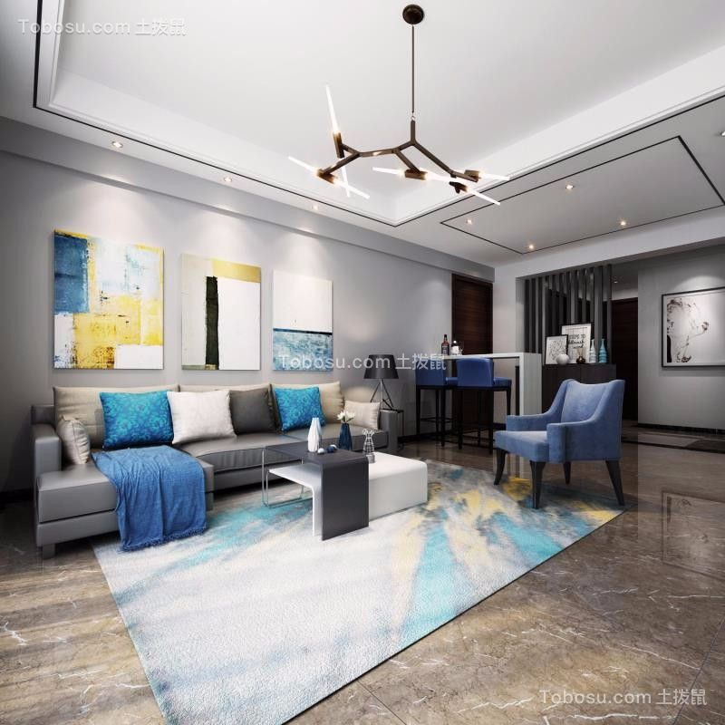 106平简约现代风格小户型客厅效果图